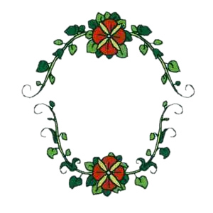 Floral Monogram Frame Embroidery Design