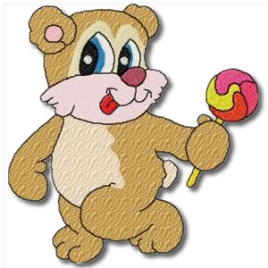 Candy Bears with Lollipop Embroidery Design