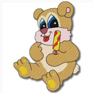 Candy Bears with candy cane Embroidery Design