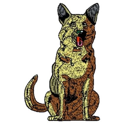 Alsation dog sitting Embroidery Design
