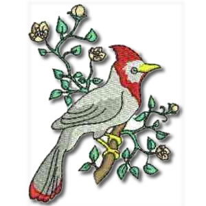 Birds and Flowers Red Crested Bird Embroidery Design