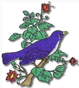 Birds and Flowers Single Blue Bird Embroidery Design