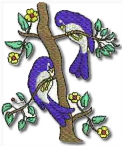 Birds and Flowers Two Blue Birds Embroidery Design