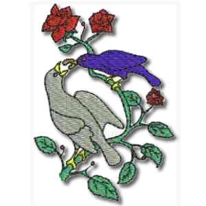 Birds and Flowers Mother and Baby Embroidery Design
