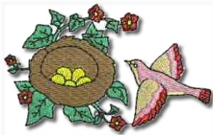 Birds and Flowers Nest Embroidery Design