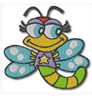 Blue Butterfly Bug Embroidery Design