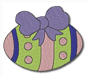 Easter Egg with Bow Embroidery Design