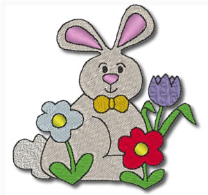 Flowery Bunny Embroidery Design