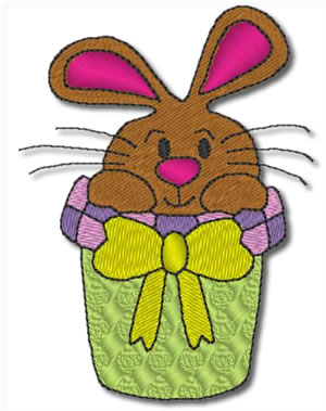 Bunny in a Basket Embroidery Design