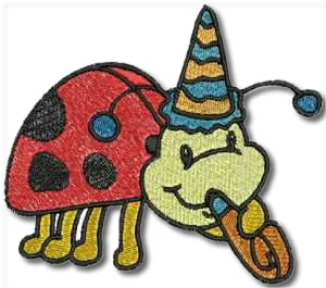 Ladybird Partytime Embroidery Design