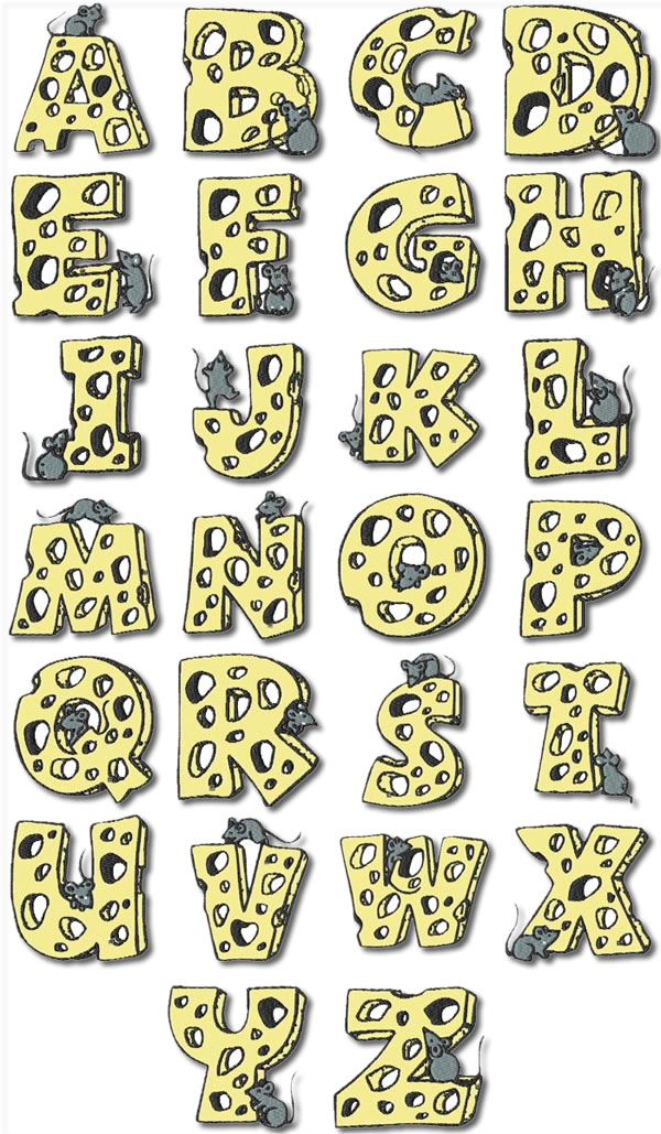 Mouse Alphabet Machine Embroidery Designs