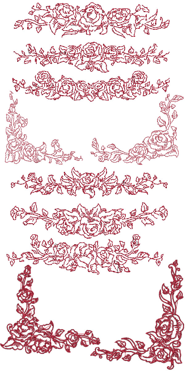 Set rose border and corners machine embroidery designs