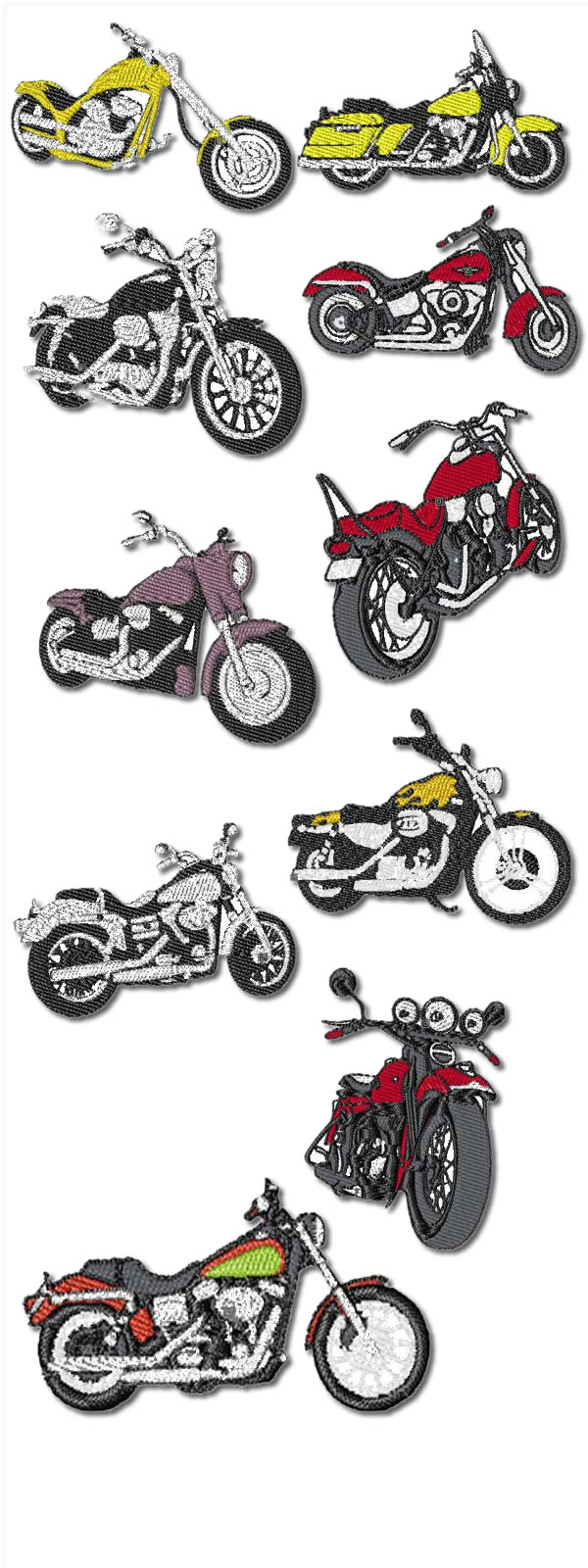 10 Set Of Motorcycles Machine Embroidery Designs