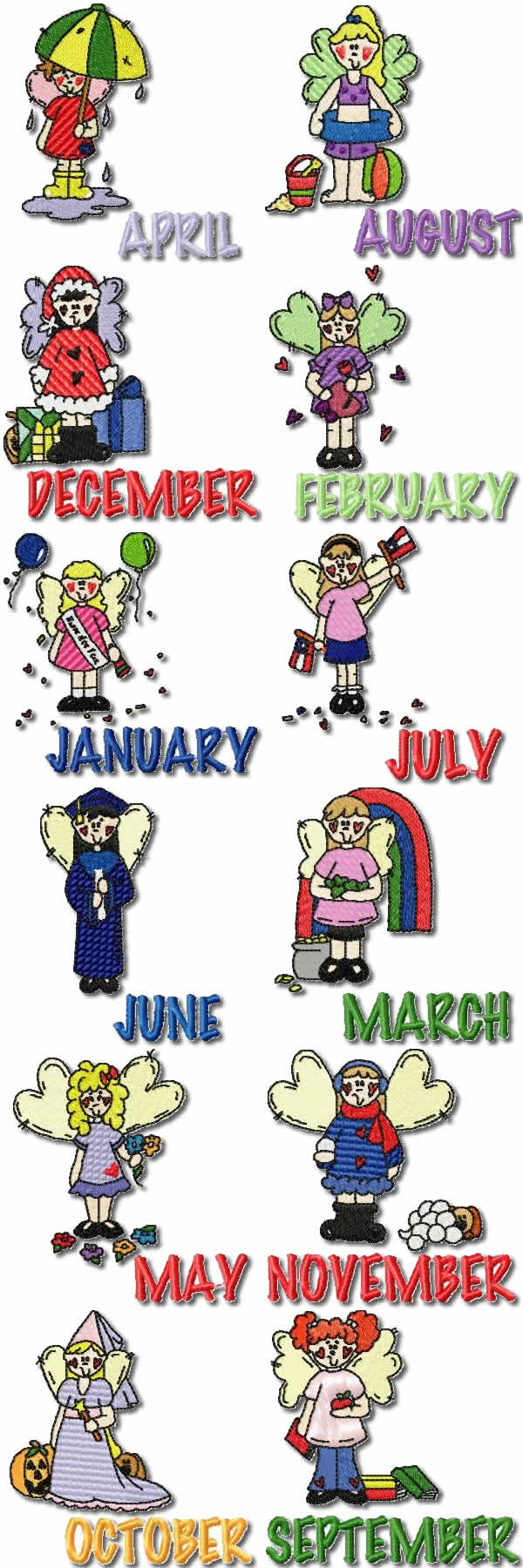 Set calendar months embroidery design images frompo