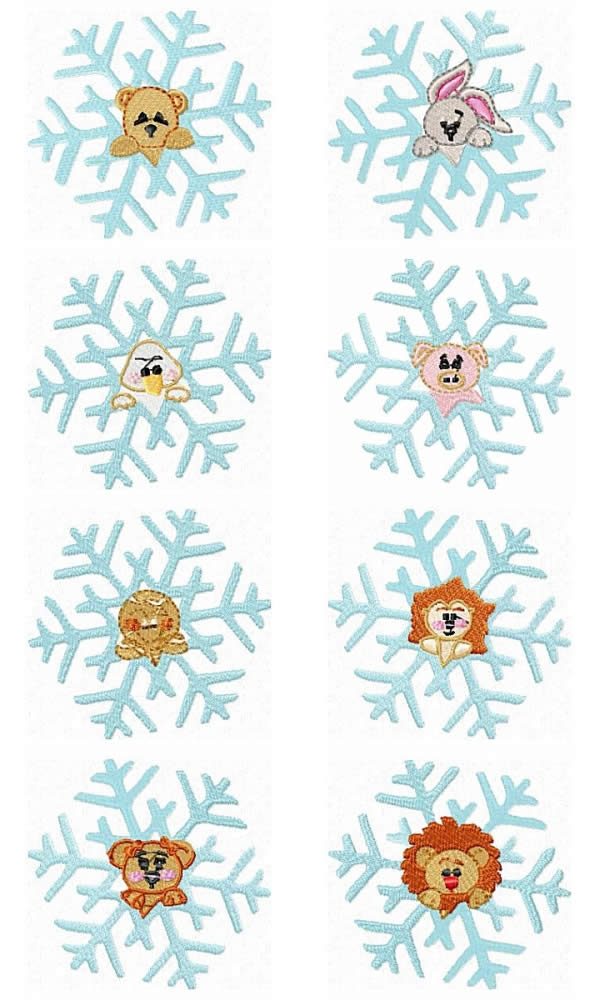 8 Set Animal Snowflakes