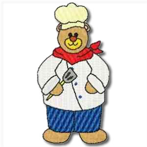 Career Bears Chef Embroidery Design