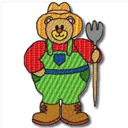 Career Bears Farmer Embroidery Design