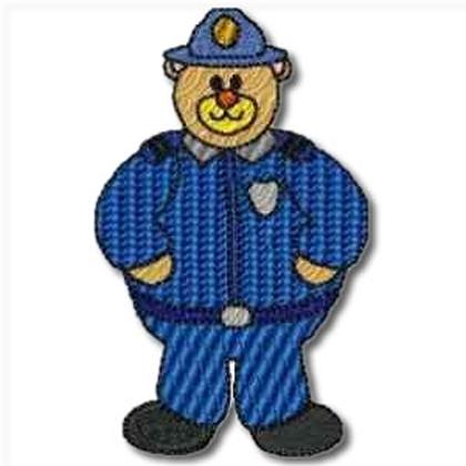 Career Bears Policeman Embroidery Design