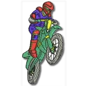 Motorcross Bike Wheelie Embroidery Design