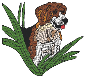 Hound in the grass Embroidery Design