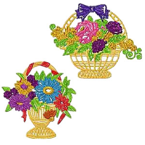 20 set Flower Baskets Embroidery Design
