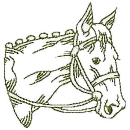 Redwork Horse Head Machine Embroidery Designs