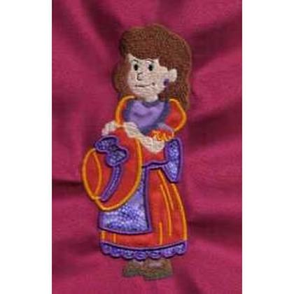 Applique Girl Holding Bonnet Embroidery Design