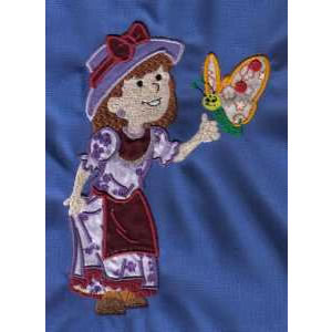 Applique Girl with Butterfly Embroidery Design