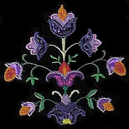 Jacobean Applique  Floral Display Embroidery Design