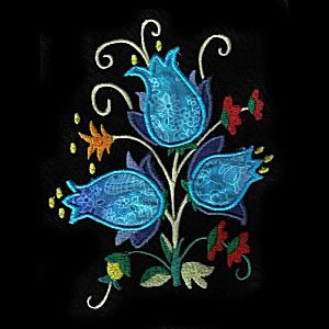 Large Jacobean Applique Embroidery Design