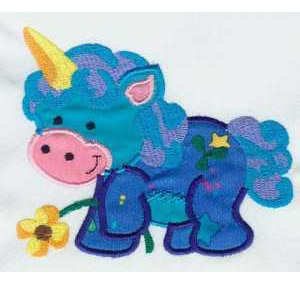 Applique Unicorn with Flower Embroidery Design