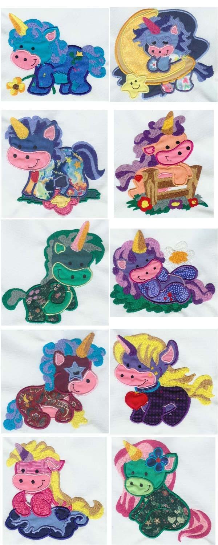 10 set Applique Unicorn