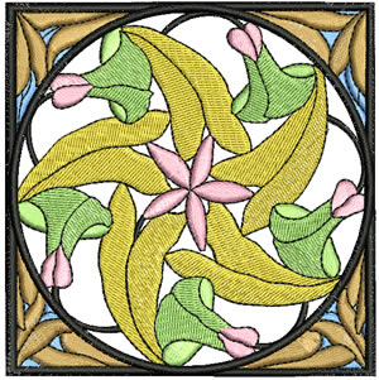 Art Nouveau Spiral Flower Embroidery Design
