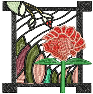 Art Nouveau Single Flower Embroidery Design