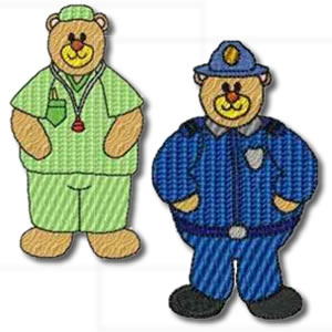 Career Bears Set of 14 designs Embroidery Design
