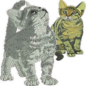 10 Set Realistic Cats Embroidery Design