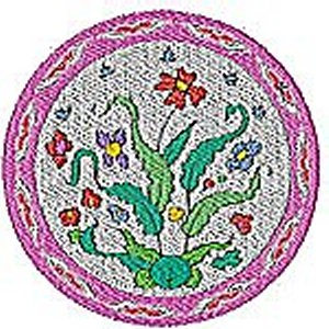 Chinese Plates Pink Floral Embroidery Design