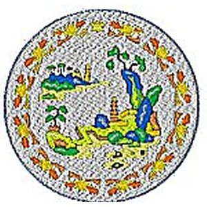 Chinese Plates Willow Pattern - Yellow Embroidery Design