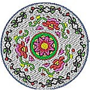 Chinese Plates Coaster Embroidery Design