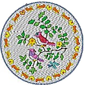 Chinese Plates with Birds Embroidery Design