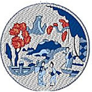 Chinese Plates Willow Pattern  Embroidery Design