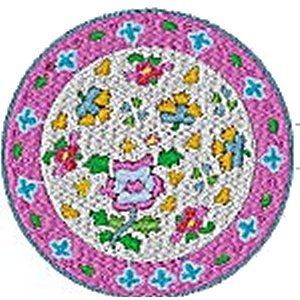 Chinese Plates Violet Embroidery Design