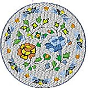 Chinese Plates Floral Embroidery Design