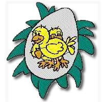 Chicks in an egg Embroidery Design