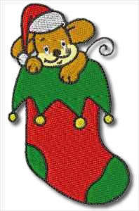 Mouse in Christmas Stocking Embroidery Design