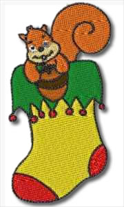 Animal Xmas Stocking Embroidery Design