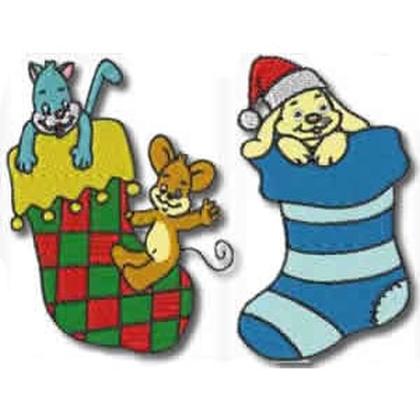 10 Set Christmas Stockings Embroidery Design