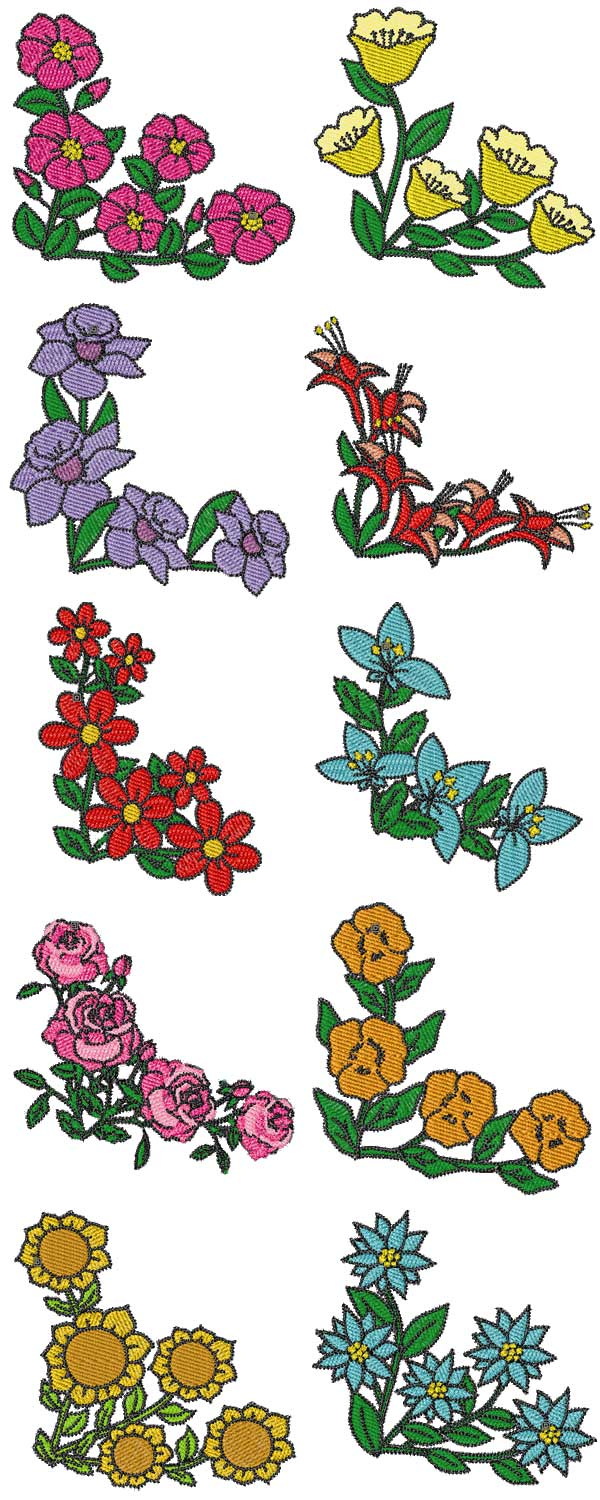 Real corner floral machine embroidery designs