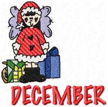 December Calendar Girl Embroidery Design