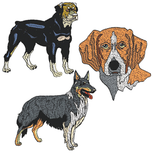 10 set of Dogs Embroidery Design